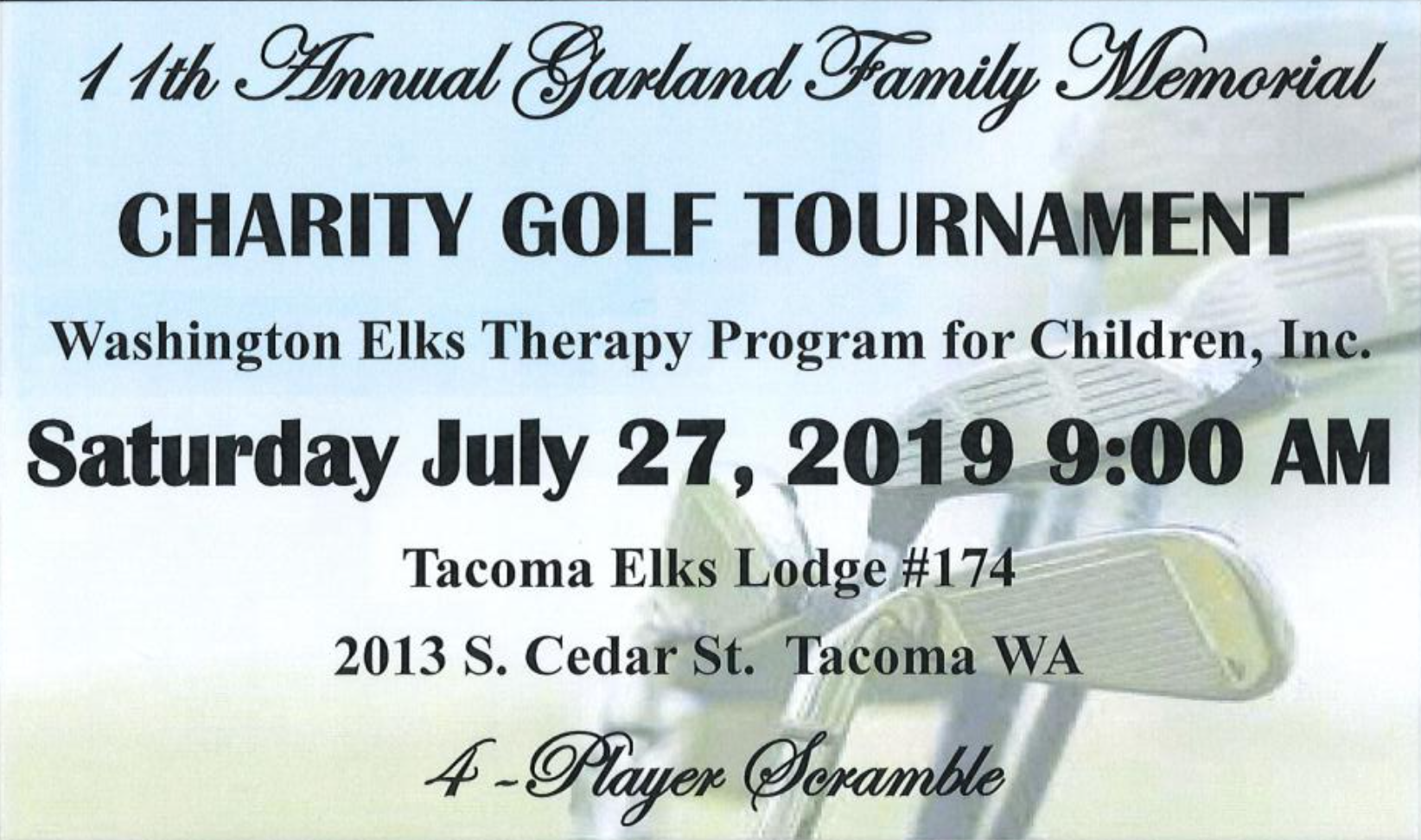Garland Family Charity Golf Tournament – Washington State Elks